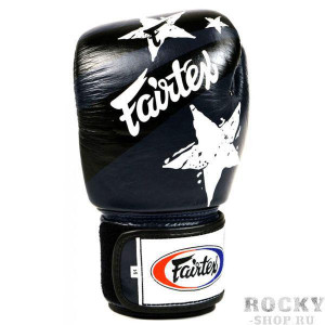 Боксерские перчатки Fairtex Nation Print, синие, 8 oz Fairtex
